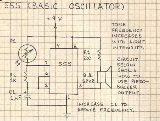 555 basic oscillator photoresistor